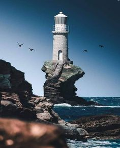 Lighthouse on Andros Island, Greece. Famous Lighthouses, Lighthouse Pictures, Seaside Beach, Autumn Scenery, World Cities, Cool Pictures, Beautiful Pictures, Beautiful Places, Beautiful Scenery