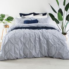 Geo Pinch Pleat Dark Blue Quilt Cover Set - pillowtalk.com.au
