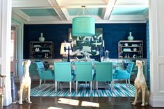 Traditional Home 2012 Hampton Designer Showhouse - This dining room is spectacular in shades of turquoise and peacock blue