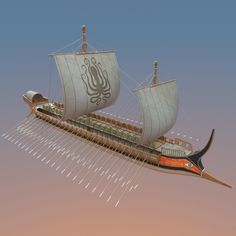 Trireme Model available on Turbo Squid, the world's leading provider of digital models for visualization, films, television, and games. Macedonia, Greek Soldier, Old Sailing Ships, Greek Warrior, Ship Paintings, Cute Couple Art, Greek History, History Projects, Greek Art
