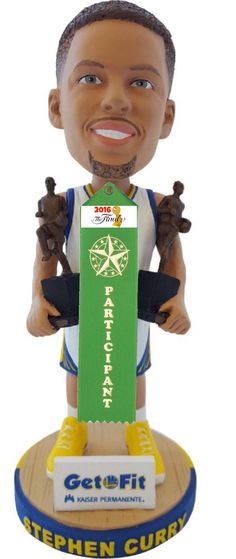 McNeil @Reflog_18  10h10 hours ago Fans at the Warriors game tonight get the Steph Curry Bobblehead with dual MVPs and 2016 NBA Finals participant ribbon.
