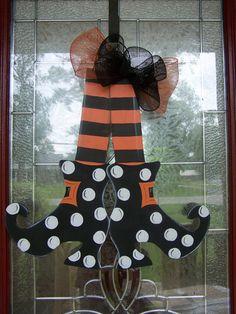 Witches shoes Halloween door hanger