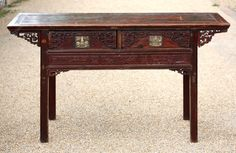 Fabulous Chinese Red Lacquer Altar Table Sideboard - Antiques Atlas Antique Chinese Furniture, Antique Sideboard, Back Plate, Country Furniture, Hidden Storage, Art Decor, Home Decor, Altar, Plank