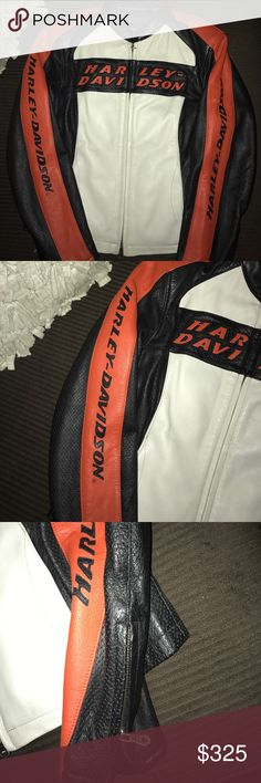 H-D GORGEOUS 100 PERCENT FULL GRAIN LEATHER JACKET H-D 100 PERCENT FULL GRAIN LEATHER RIDING JACKET WORE 1x IN MINT CONDITION!! PURE HARLEY DAVIDSON COLORS CREAM/BLACK/ORANGE .. HAS ZIPPERED SLEEVES AT WRIST  .. ZIPPERED POCKETS ON INSIDE ON BOTH SIDES OF JACKET  ... COLLARLESS HAS HARLEY WROTE WHERE COLLAR WOULD BE ...IS VENTED .. HEAVY DUTY RIDING JACKET FOR SERIOUS HARLEY RIDING Harley-Davidson Tops