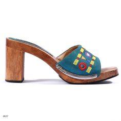 WOOD Clogs . Leather Sandal Swedish Dansk 1990s Mules Oriental Blue Summer Open Heel Heels . sz Eur 38 , USA 7.5 , UK 5