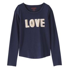Joe Fresh Kid Girls' Text Sequin Graphic Tee - LOVE - perfect for fall in in a great navy color adorable for any girl!