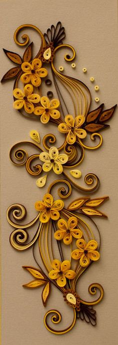 Neli Quilling Art: Quilling flowers - yellow and brown