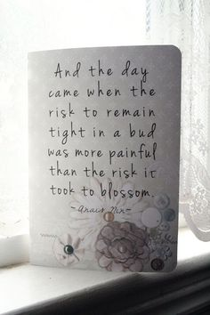 Anais Nin Journal - Blossom Quote