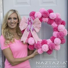 DIY Tutorial for Pink Pom Pom Yarn Wreath for Breast Cancer Awareness by Donna Wolfe from Naztazia #breastcancerawarenesscrafts
