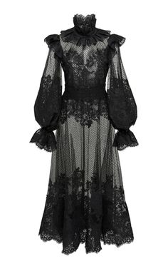 Ruffled Flocked Tulle Maxi Dress by Zimmermann Alternative Mode, Alternative Fashion, Mode Sombre, Gothic Mode, Gothic Lolita, Victorian Gothic Fashion, Goth Dress, Lace Dress, Witchy Dress