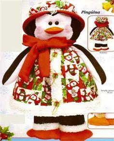 Patrón Pareja Pinguinos navideños