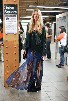 Street style. Sheer floral skirt with high slit, hard edgy boots, boyfriend tee and the perfect leather jacket.