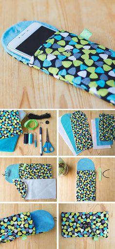How to sew phone cover, tutorial + pattern / Шьем удобный и симпатичный чехол для телефона