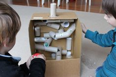 """Cardboard Marble Run ("""",) Maybe have each group make a marble run in a box and then combine the boxes into a super marble run."""