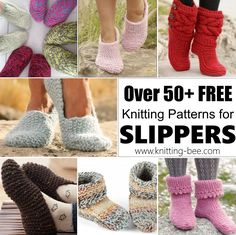 Over Free Knitting Patterns for Slippers to Keep Your Feet Toasty! : Over Free Knitting Patterns for Slippers to Keep Your Feet Toasty! Easy Knitting, Loom Knitting, Knitting Socks, Knit Slippers Free Pattern, Knitted Slippers, Knitted Booties, Baby Knitting Patterns, Sweater Patterns, Knitting Ideas