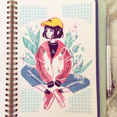 school is killing me . anyways we took weights today and my coach compared my weight to a middle schooler. i was very disappointed at… Posca Marker, Marker Art, Pretty Art, Cute Art, Illustrations, Illustration Art, Character Art, Character Design, Posca Art