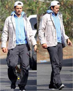 Josh Duhamel wearing a K-Way Manfield Jacket in Sand
