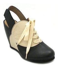 ba3cd1c6079 Black  amp  Off-White Leather Bonz Slingback Hot Shoes