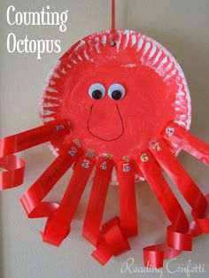 Create this super cute Paper Plate Octopus. Color him or her any color you want and add some googly eyes. Ribbons can glue for tentacles or punch holes and string curling gift ribbon. Cute and fun rainy day craft and a great way to use up any left over ribbon.