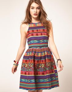 ASOS Skater Dress in Mexican Print
