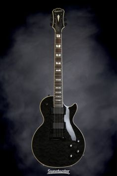 Epiphone Prophecy Les Paul Custom Plus EX - Midnight Ebony | Sweetwater.com | Solidbody Electric Guitar with Mahogany Body and Neck, Quilt Maple Top, Rosewood Fingerboard, and EMG-81/85 Humbucking Pickups - Midnight Ebony