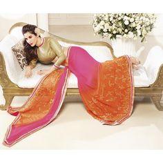 Pink & Orange Chiffon Sophie Choudry Saree