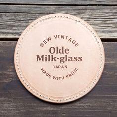 """日本製 オールドミルクガラスレザーコースター - 日本のハンドメイドミルクガラスブランド""""オールドミルクガラス Olde Milk-glass"""""""