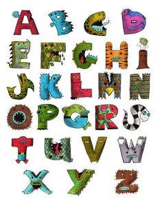 Monster Alphabet :D Typography Alphabet, Alphabet Art, Typography Design, English Alphabet, Graphisches Design, Name Art, Letter B, Art Graphique, Sign Printing
