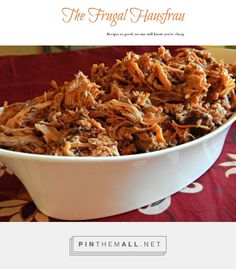 Crock Pot Slow Cooker Pulled Pork or Brisket   Frugal Hausfrau - Super easy classic recipe for brisket or pork in the crockpot. I've been making this for almost 35 years