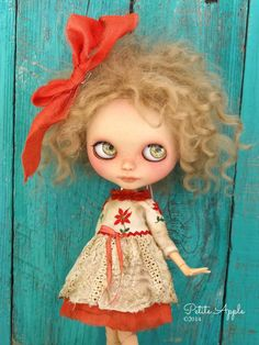 """Blythe doll outfit OOAK  """"Is it Christmas yet?* -Grungy-chic dress, vintage embroidered, long sleeves"""