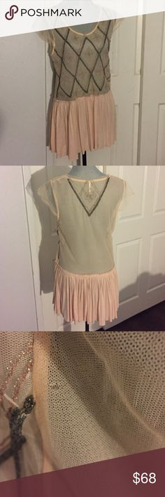 Free People Pale pink Lace Jeweled Blouse L Preloved! In good condition- does have one small flaw- shown in pic 3. 🚫Trades! Open to reasonable offers through the offer button! Free People Tops Blouses