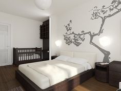 Fashionable Apartment Decoration with the Best Design: Chic Bedroom Tree Wall Decal Fashionable Moscow Apartment