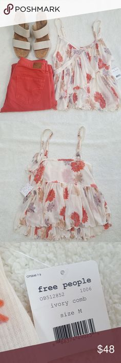 [Free People] Floral Ruffle Tank Top NWT Soft chiffon material with a pretty floral print throughout. Brand new with tags.   Open to offers! Bundle and save  20%! Free People Tops Tank Tops
