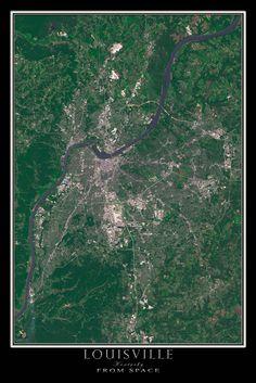 Louisville Kentucky From Space Satellite Art Poster