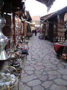 Street market in Sarajevo, Bosnia and Herzegovina.