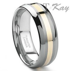 Tungsten Carbide White Gold Inlay Wedding Band Ring Sz This is a tungsten ring with solid gold inlay. The tungsten part is scratch proof, and the gold inlay is made from a thick sold gold so it could be repolished just like a gold ring. Gold Wedding Rings, Wedding Ring Bands, Gold Ring, Wedding Jewelry, Triton Rings, Tungsten Carbide Rings, Titanium Rings, Unique Rings, Bracelets