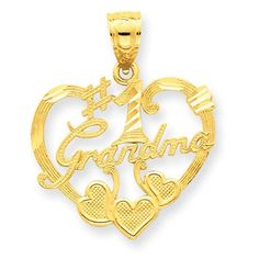 14k Yellow Gold #1 Grandma Heart Pendant by goldia. $94.06. Product Details        Product SKU: IB2989    Specifications:   14k Yellow goldDiamond-cutSatin     Precious Metal Type:   14k Yellow Gold   Width: 20 mm, (13/16 Inch)   Length: 20 mm, (13/16 Inch) (Including the Bail)    Weight:   1.38 gr.     Quantity in Stock:   1
