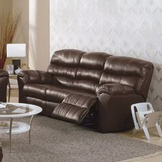 Palliser Furniture Durant Reclining Sofa Type: Leather/PVC Match - Tulsa II Dark Brown, Upholstery: All Leather Protected - Tulsa II Bisque