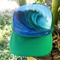 Candy Wave —hand-painted wave on kelly green trucker hat  www.laarnigedo.com