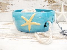 Yarn bowl knit crochet starfish ocean teal blue by SeamariesBounty