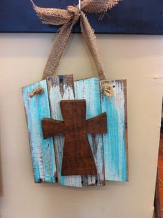 Wood cross wall hanging on wooden planks light blue by HiggiHouse, $30.00