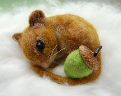 Needle Felted Mouse. Needle Felt Mouse. Wool Mouse. Miniature Mouse Figure. Sleeping Mouse. Fall Decor. Woodland Animals. Waldorf Animals
