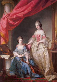 1767 Princess Louisa and Princess Caroline of England King George III younger sisters Francis Cotes