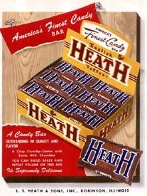 The Heath Bar is not only made with delicious, rich chocolate; it's also made with love, this candy bar was completely hand made until 1942, when Hershey's modernized their plant to keep up with the ever growing demand for this delicious toffee candy bar. In World War II , Heath Bars were included in soldier ration kits because of their long shelf life and durability and they have remained beloved ever since.