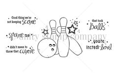 """Created by Joslyn Nielson. This kit contains 6 stamps.  Bowling pins with ball and stars measure approximately 2.25"""" x 2.5"""".  """"Good thing we're not keeping score"""" sentiment measures approximately .5"""" x 1.5"""".  """"spare me"""" sentiment measures approximately .5"""" x 1.5"""".  """"didn't mean to throw that curve"""" sentiment measures approximately .5"""" x 1.5"""".  """"that took balls"""" sentiment measures approximately .5"""" x 1.25"""".  """"you're incredi-bowl"""" sentiment measures approximately .5"""" x 1.25"""".  All Unity…"""