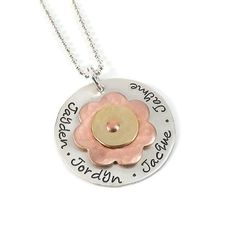 Mixed Metals Mommy Necklace  Flower  Hand Stamped on by StephieMc, $49.99