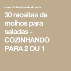 30 receitas de molhos para saladas - COZINHANDO PARA 2 OU 1