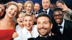Ellen Degeneres in a selfie with several stars at the Oscars in 2014. - Getty Images