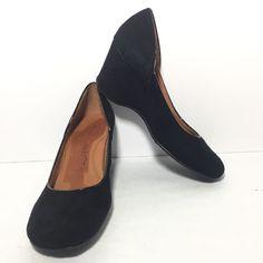 GENTLE SOULS Women's Black Leather Suede Wedge Heel Round Toe Pumps Size 7 M #GentleSouls #PumpsClassics #WeartoWork