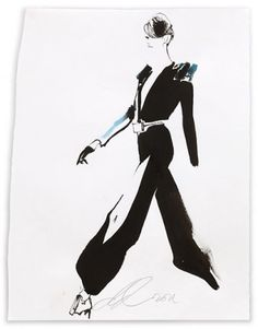 David Downton Stephane Rolland/Paris Couture July 2011 2011 Mixed media on paper 42 x 32 cm